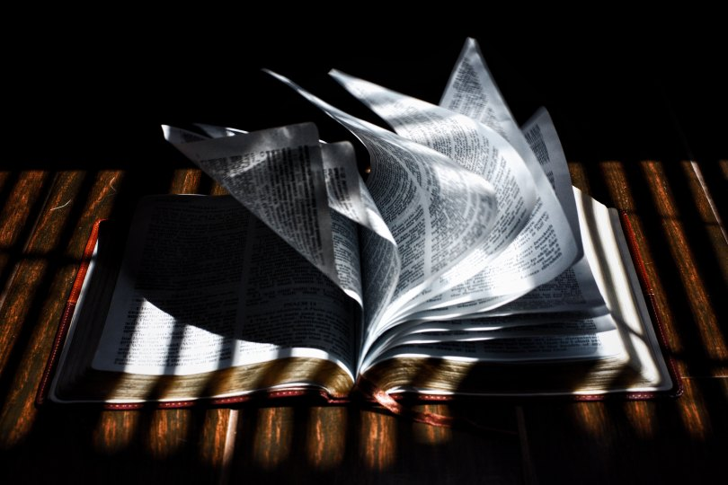 A book lying open on a table with pages blowing over.