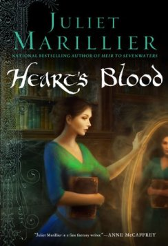 Cover of Heart's Blood. Art of a woman in green looking into an enchanted mirror by Melanie Delon.