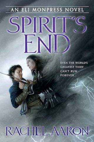 Cover of Spirit's End. Art of a man fighting a man made of cloud by Sam Weber.
