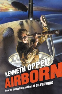 Cover of Airborn by Kenneth Oppel. Art of a young man peering through a spyglass from the top of a dirigible by Peter Riddihoff.