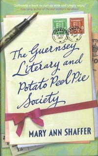Cover of The Guernsey Literary and Potato Peel Pie Society. Art of vintage letters wrapped in a ribbow by Christian Raoul Skrein von Bumbala.
