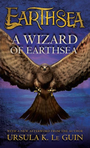 Cover of A Wizard of Earthsea by Ursula K. LeGuin. Cover of a falcon stooping at the viewer by Dominic Harman.
